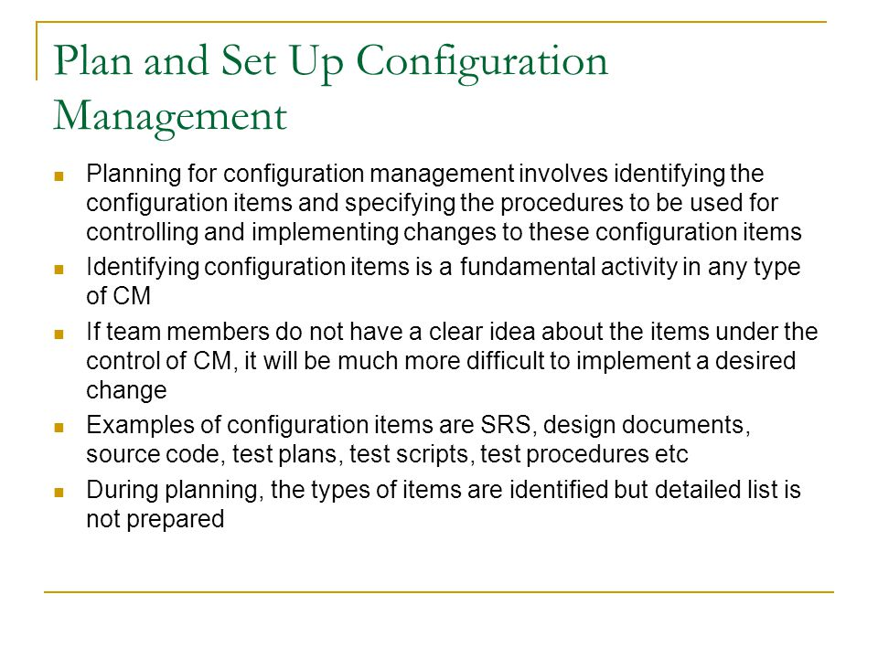 Plan and Set Up Configuration Management