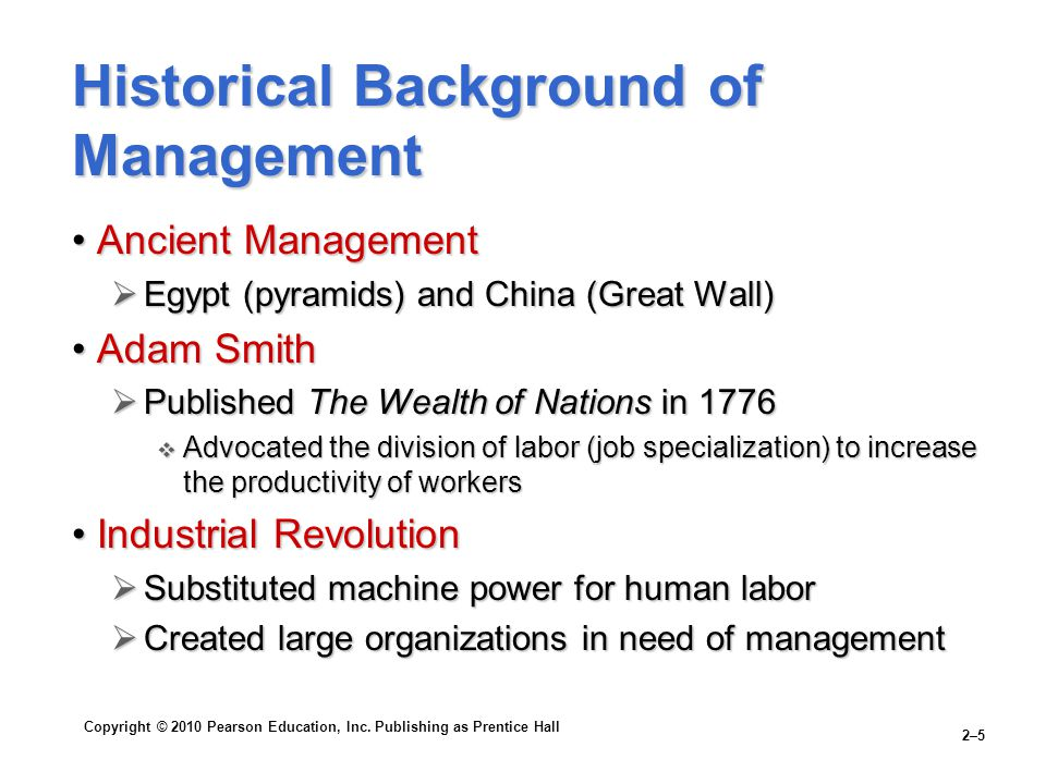 Historical Background of Management