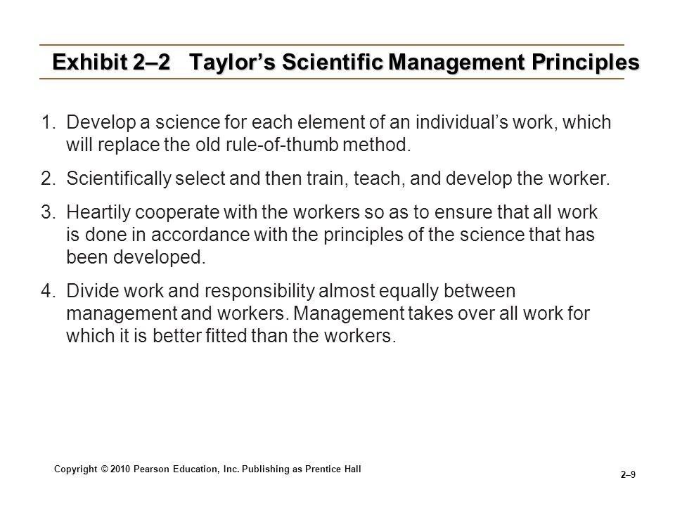 Exhibit 2–2 Taylor's Scientific Management Principles