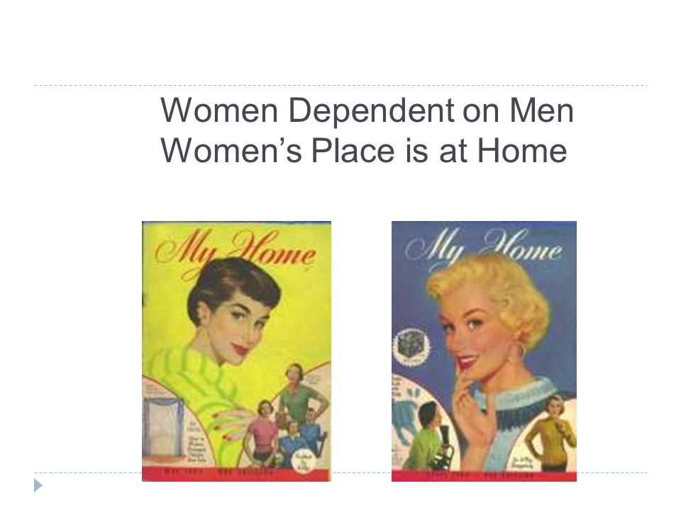 Women Dependent on Men Women's Place is at Home