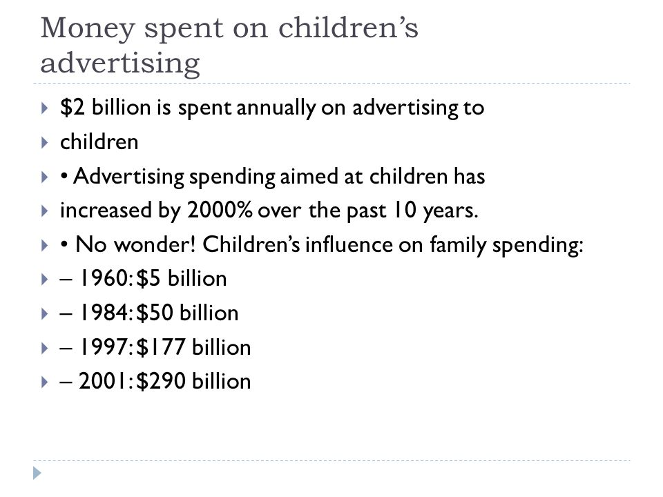 Money spent on children's advertising