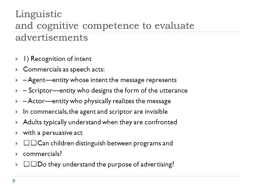 Linguistic and cognitive competence to evaluate advertisements