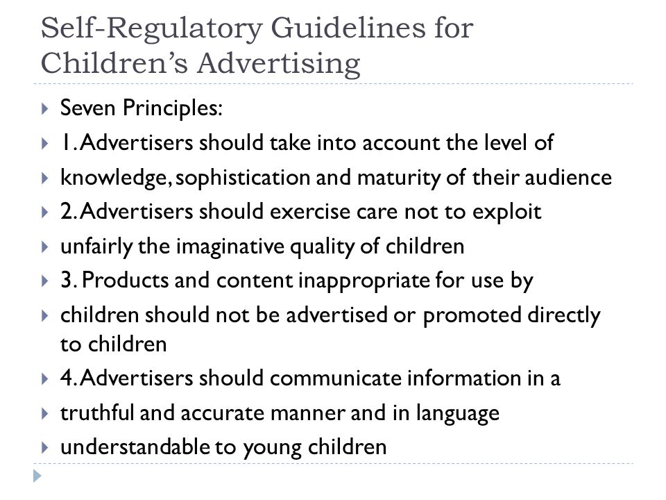Self-Regulatory Guidelines for Children's Advertising