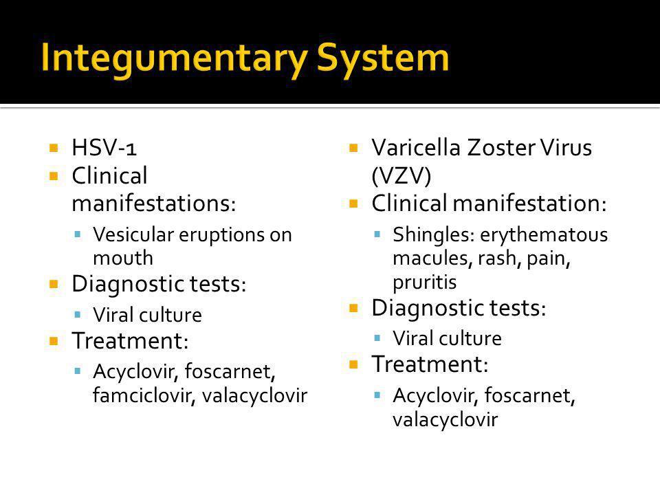 Integumentary System HSV-1 Clinical manifestations: Diagnostic tests: