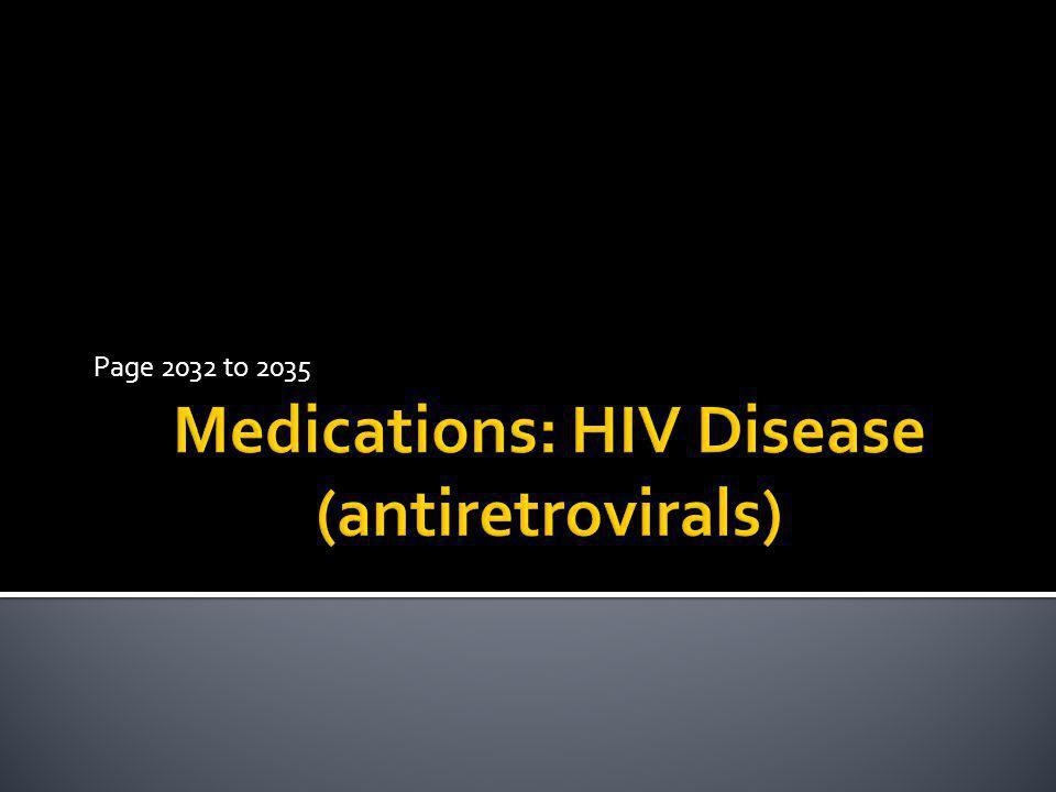 Medications: HIV Disease (antiretrovirals)