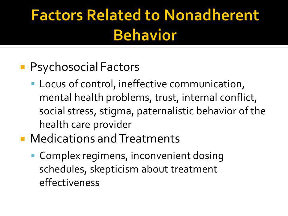 Factors Related to Nonadherent Behavior