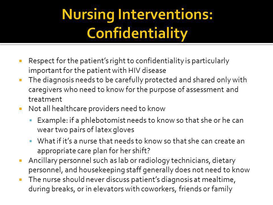 Nursing Interventions: Confidentiality