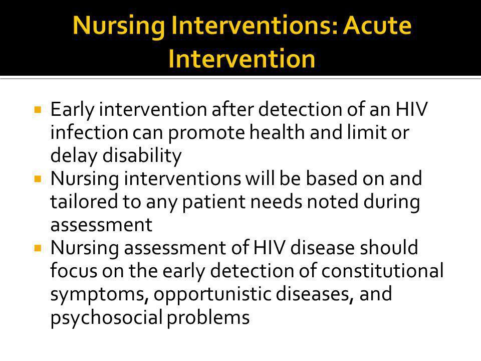 Nursing Interventions: Acute Intervention