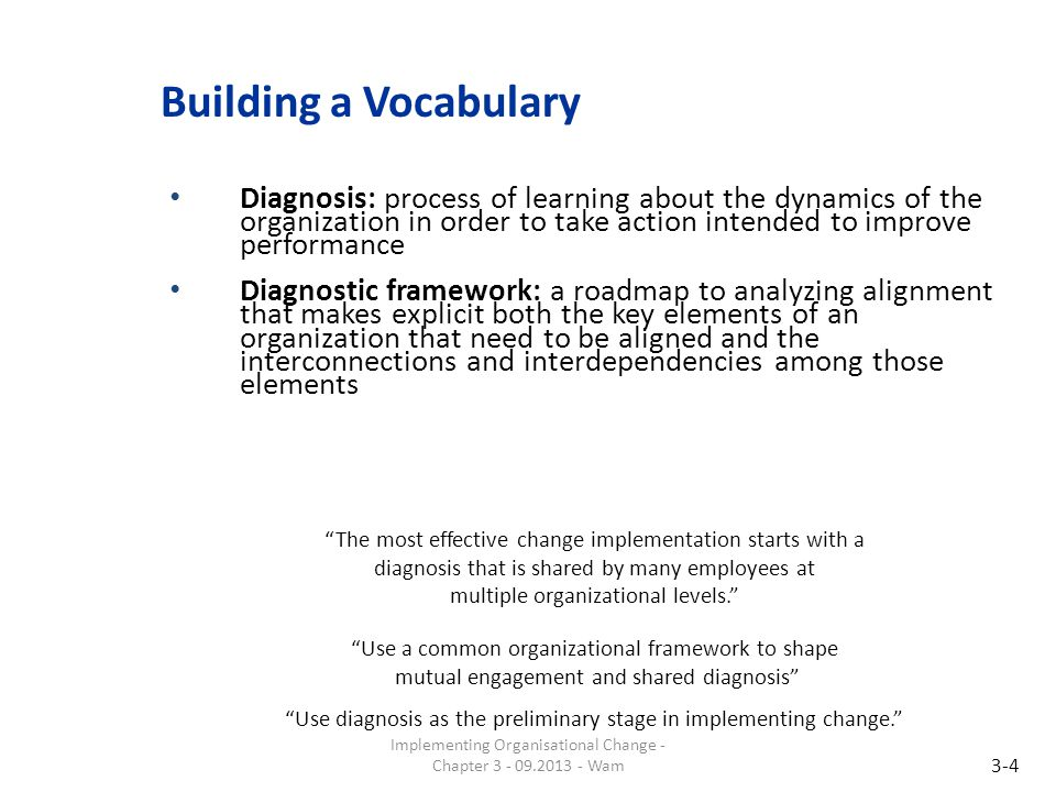 Building a Vocabulary Diagnosis: process of learning about the dynamics of the organization in order to take action intended to improve performance.