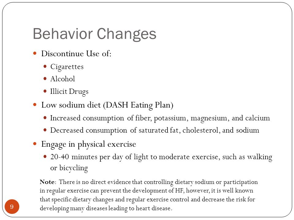 Behavior Changes Discontinue Use of: