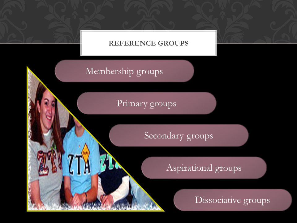 Membership groups Primary groups Secondary groups Aspirational groups