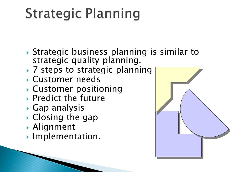 Strategic Planning Strategic business planning is similar to strategic quality planning. 7 steps to strategic planning.