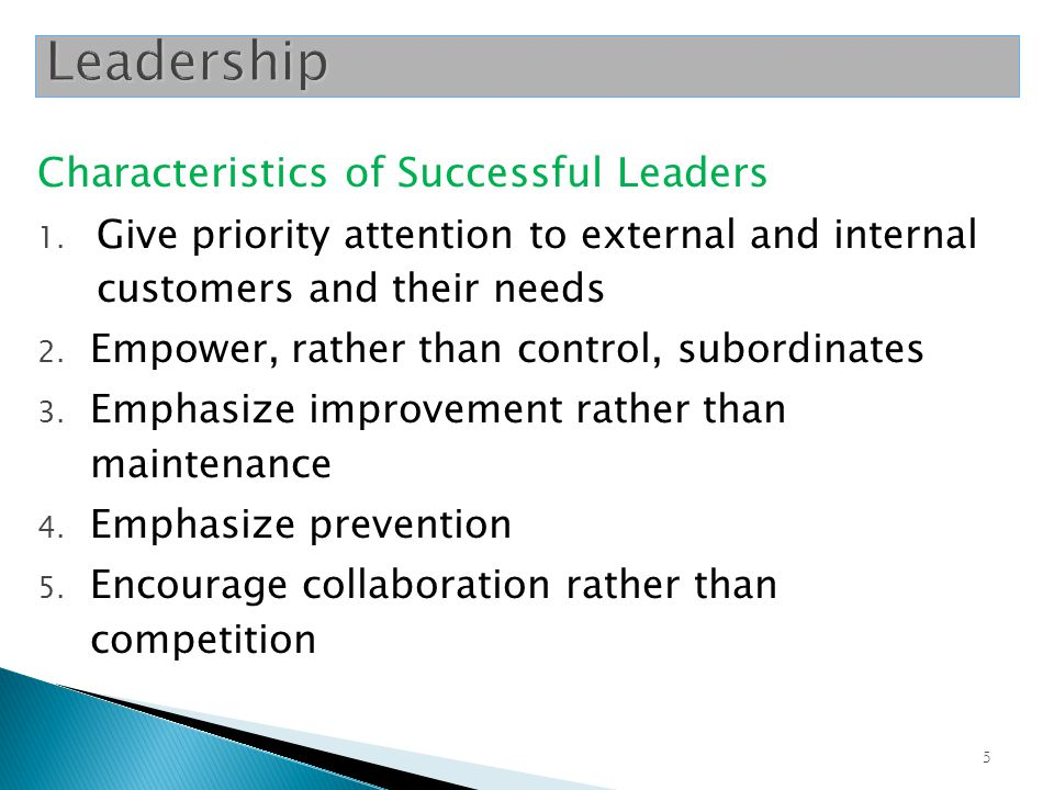 Leadership Characteristics of Successful Leaders