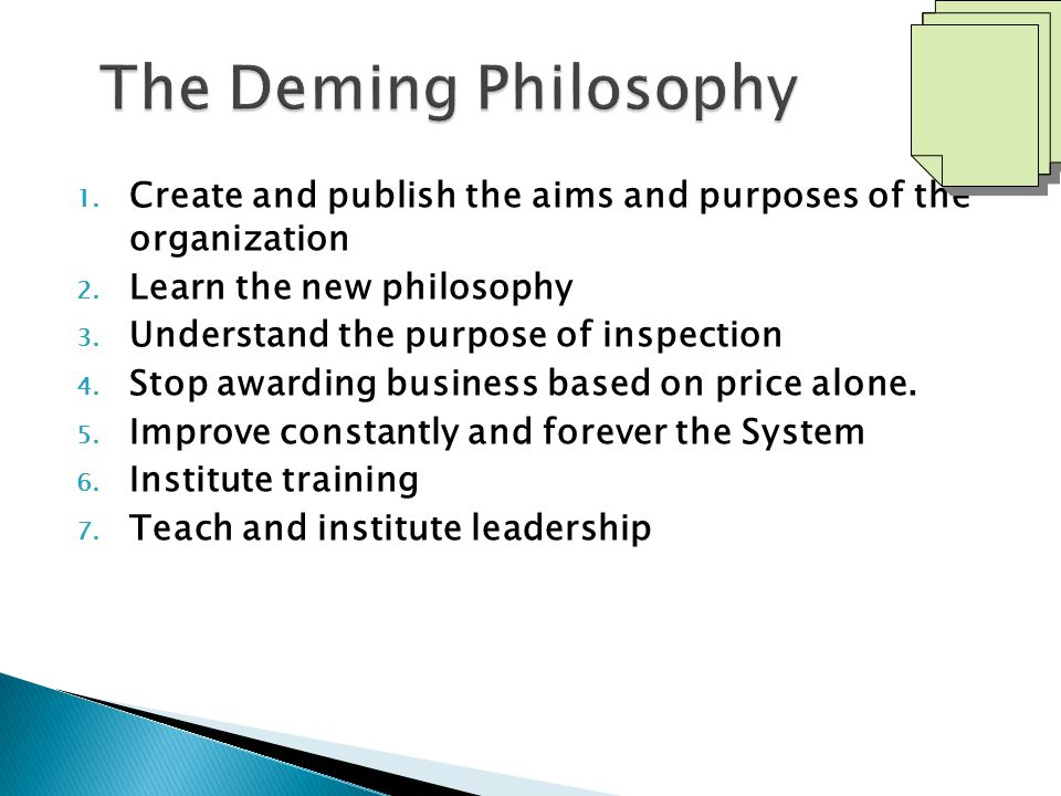 The Deming Philosophy Create and publish the aims and purposes of the organization. Learn the new philosophy.