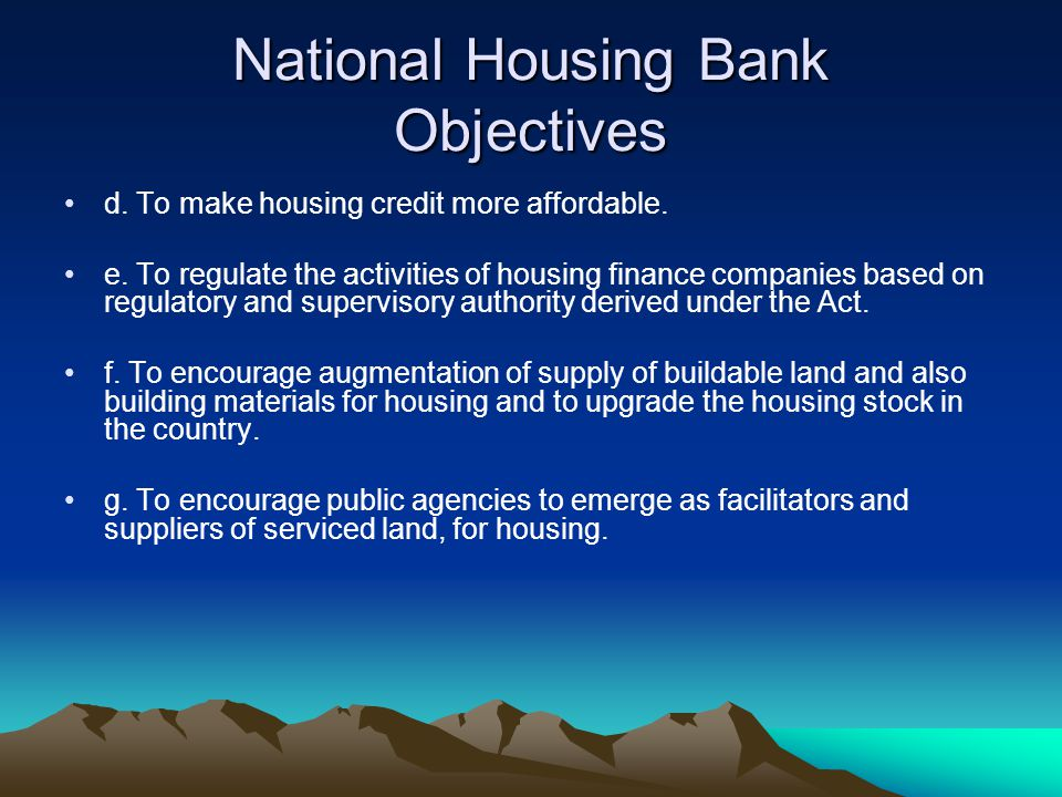 National Housing Bank Objectives
