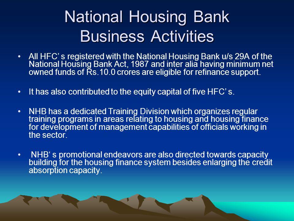 National Housing Bank Business Activities