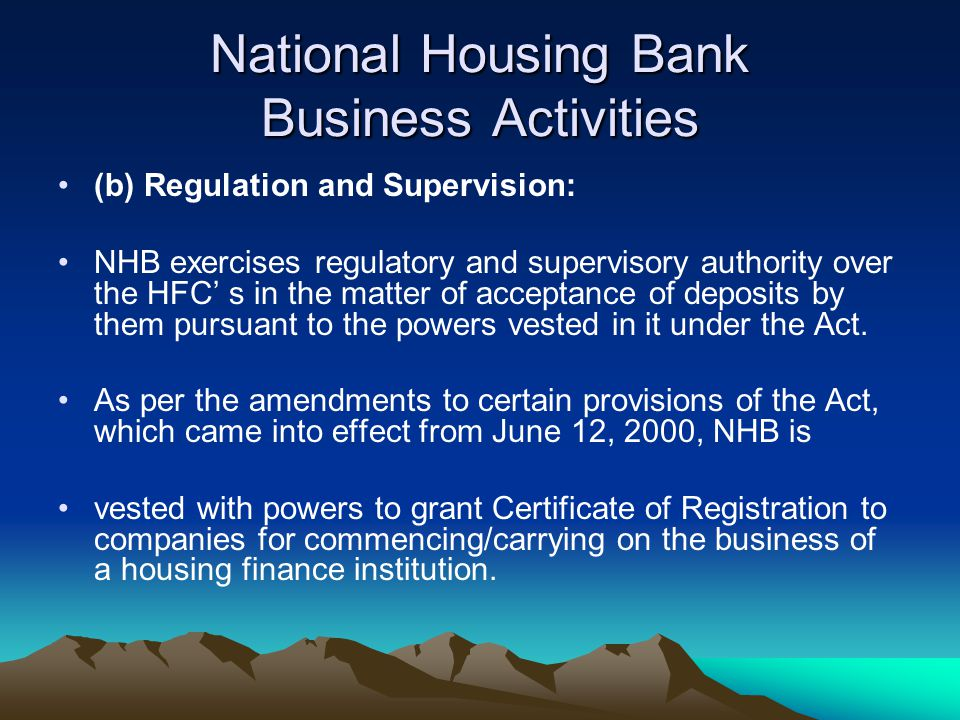 National Housing Bank Business Activities