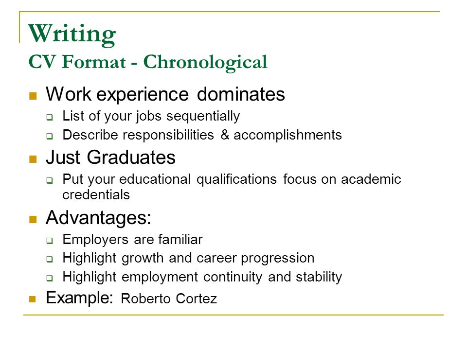 Writing CV Format - Chronological