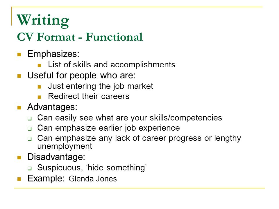 Writing CV Format - Functional