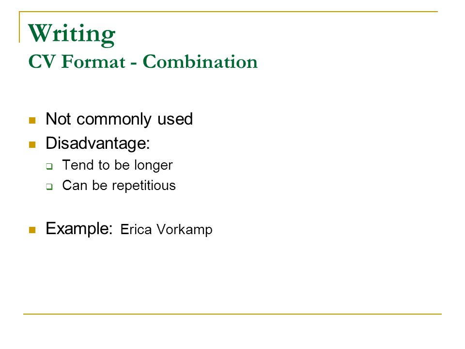Writing CV Format - Combination