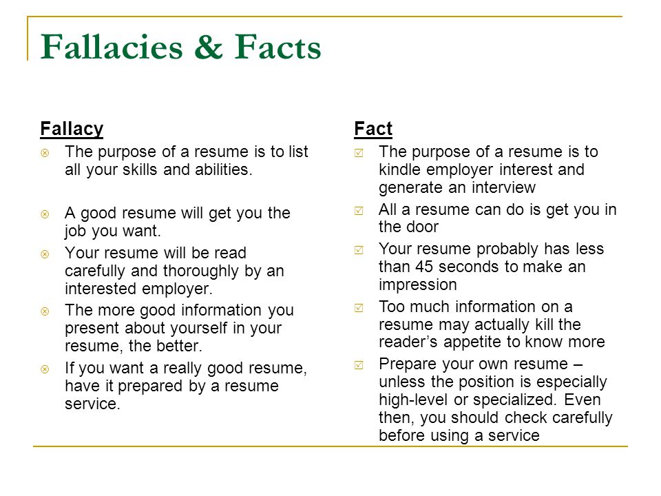 Fallacies & Facts Fallacy Fact
