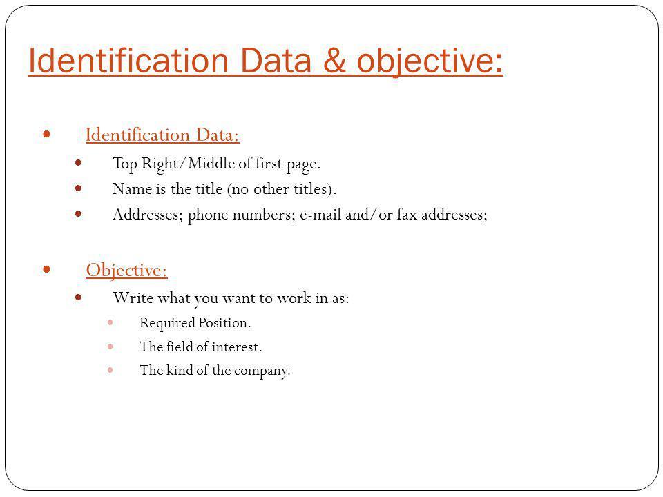 Identification Data & objective: