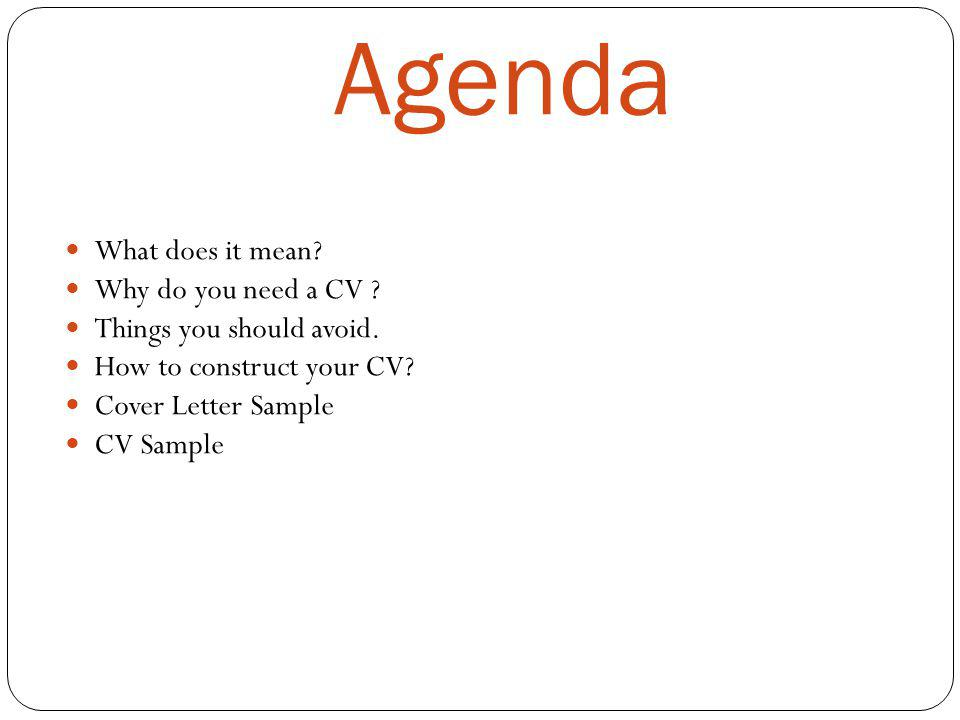 Cover Letter Sample Cv Sample Agenda What Does It Mean Why Do You Need A Cv