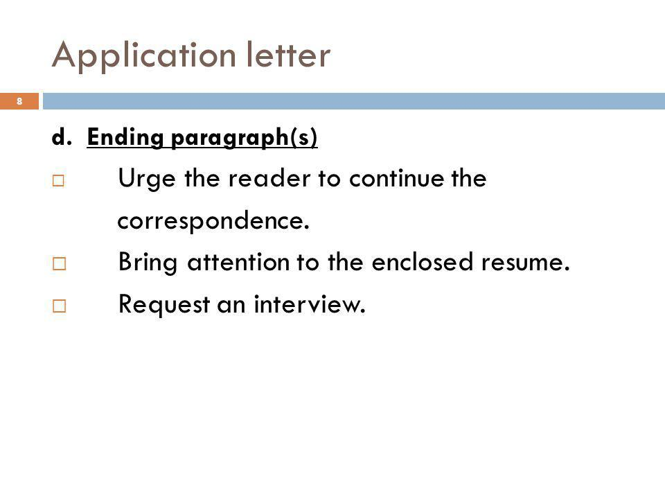Application letter correspondence.