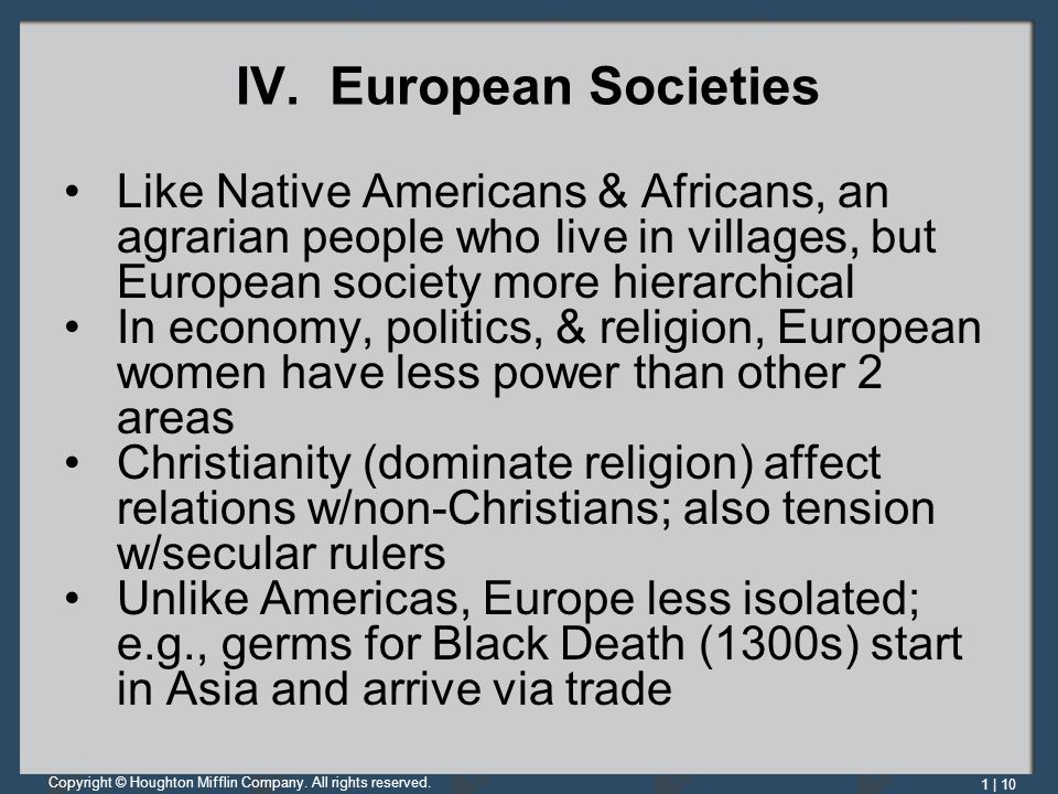 IV. European Societies Like Native Americans & Africans, an agrarian people who live in villages, but European society more hierarchical.