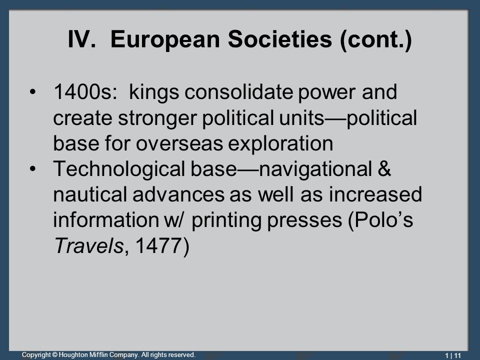 IV. European Societies (cont.)