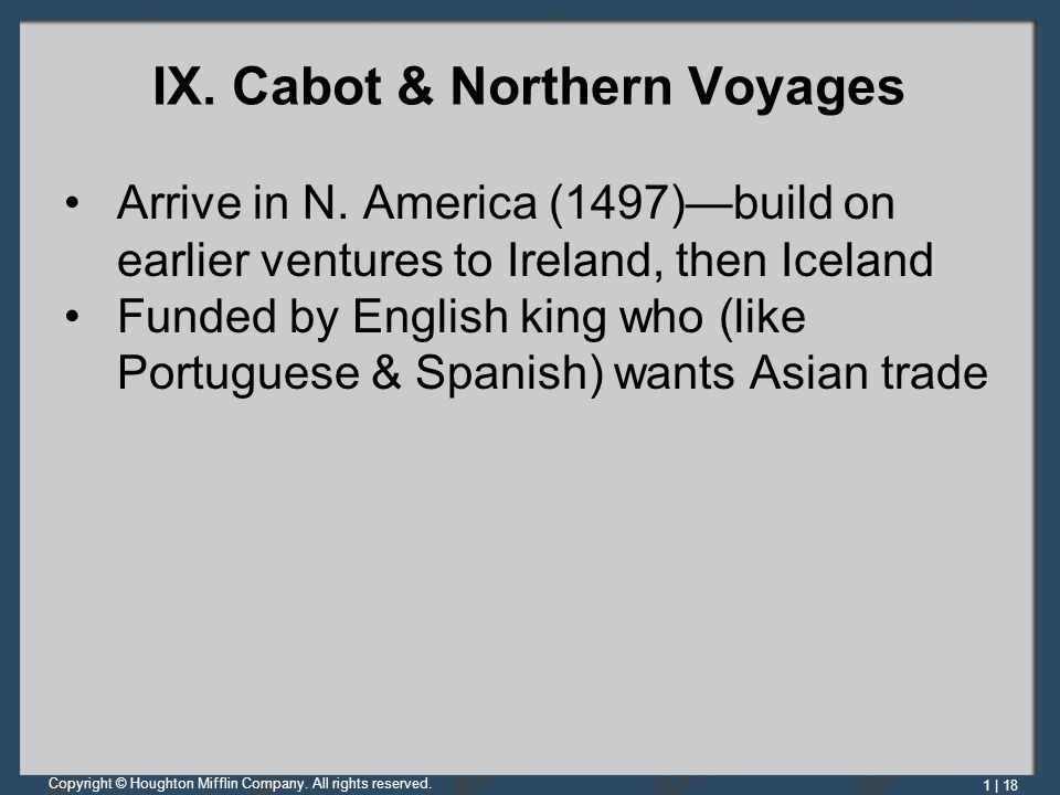 IX. Cabot & Northern Voyages