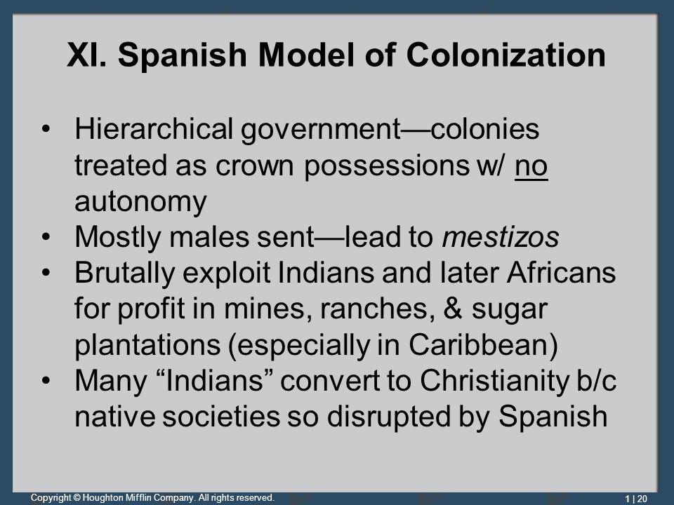 XI. Spanish Model of Colonization