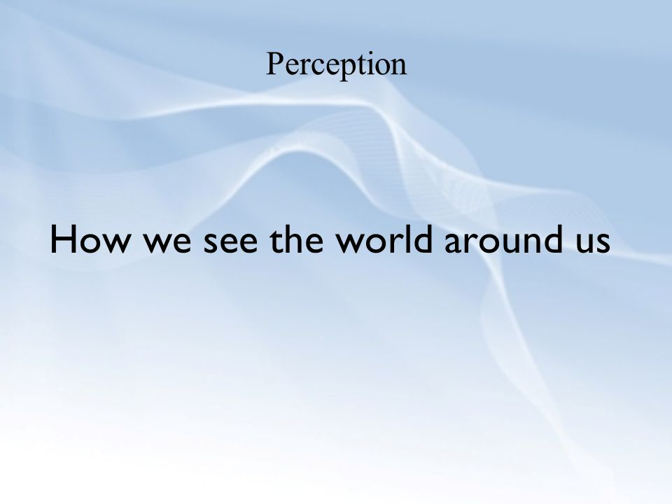 How we see the world around us
