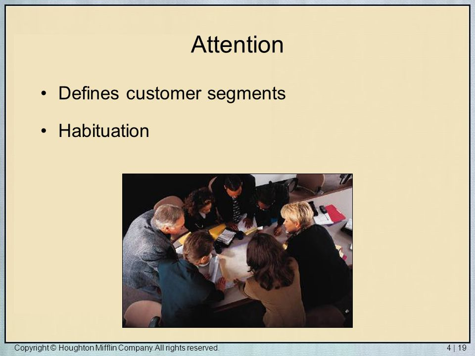 Attention Defines customer segments Habituation
