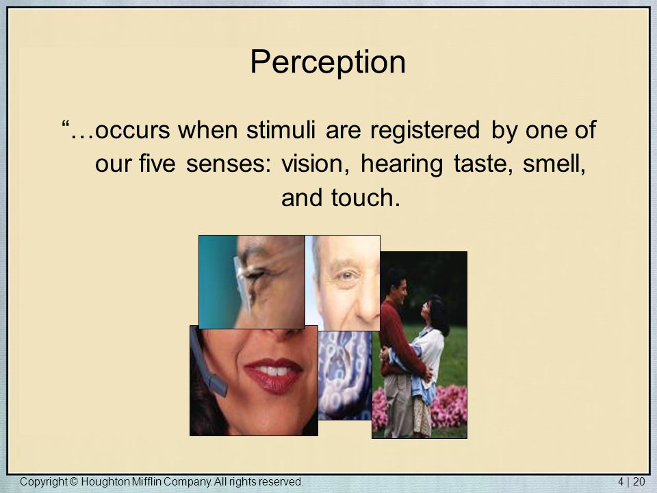 Perception …occurs when stimuli are registered by one of our five senses: vision, hearing taste, smell, and touch.