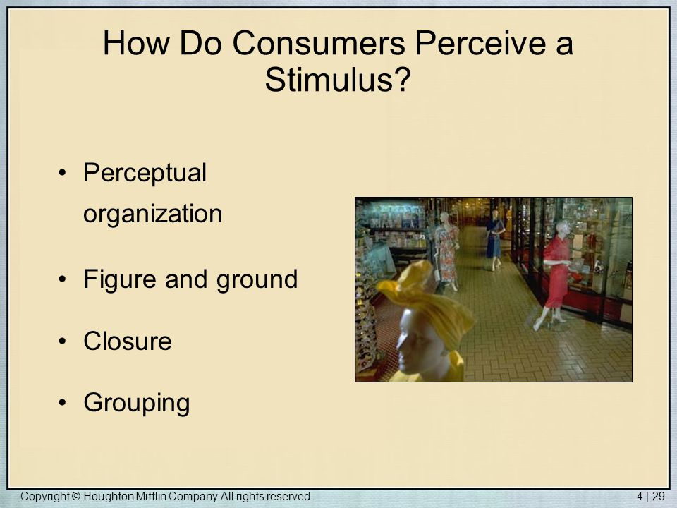 How Do Consumers Perceive a Stimulus