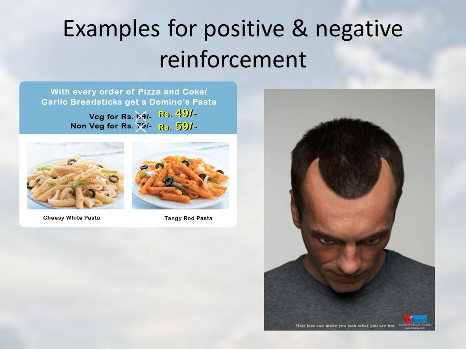 Examples for positive & negative reinforcement