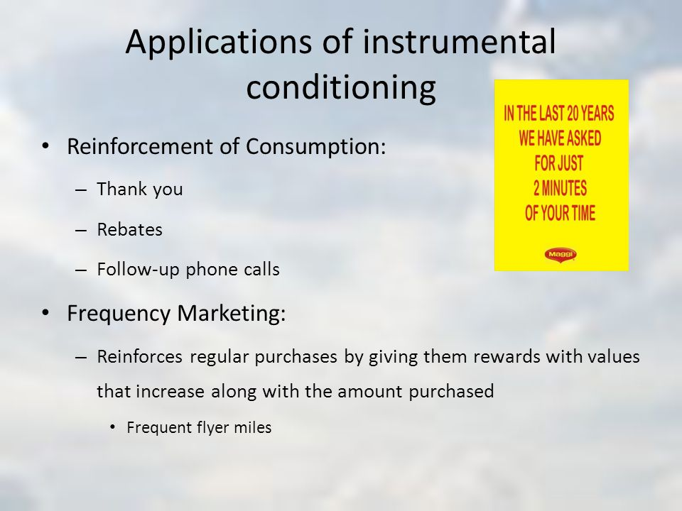 Applications of instrumental conditioning