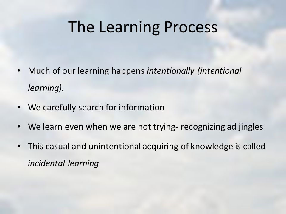 The Learning Process Much of our learning happens intentionally (intentional learning). We carefully search for information.