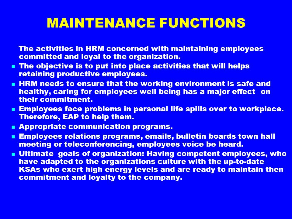 MAINTENANCE FUNCTIONS