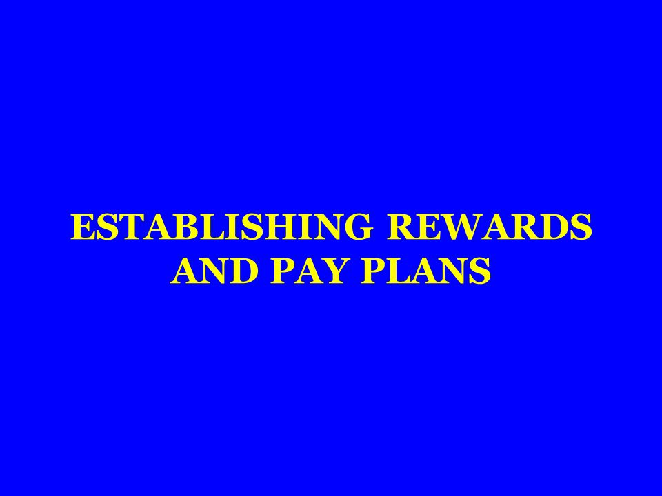 ESTABLISHING REWARDS AND PAY PLANS