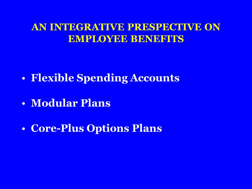 AN INTEGRATIVE PRESPECTIVE ON EMPLOYEE BENEFITS