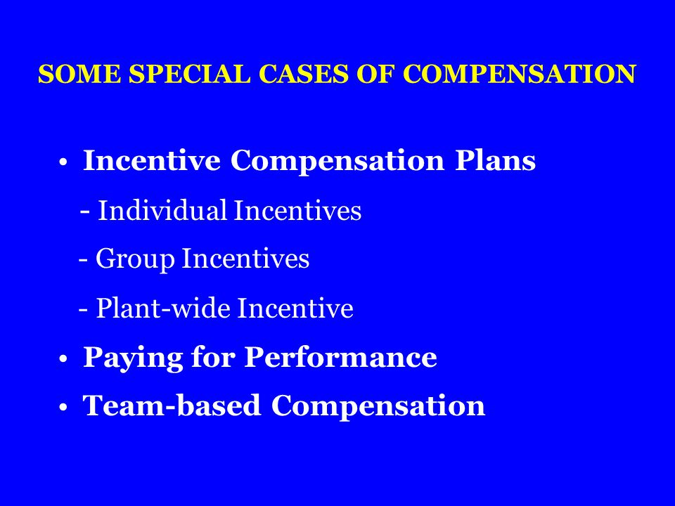 SOME SPECIAL CASES OF COMPENSATION