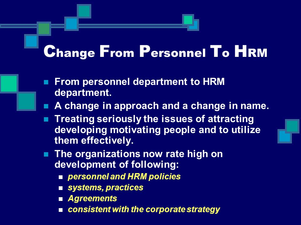 Change From Personnel To HRM