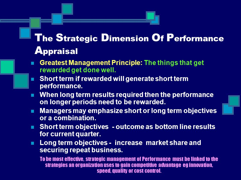 The Strategic Dimension Of Performance Appraisal