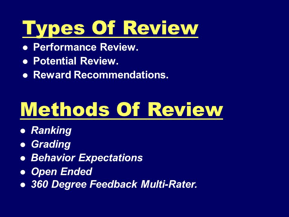 Types Of Review Methods Of Review Performance Review.