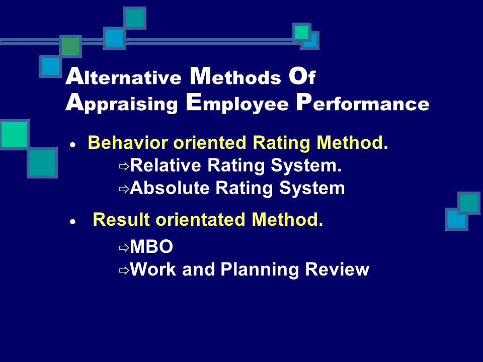 Alternative Methods Of Appraising Employee Performance