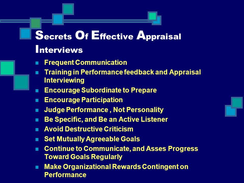 Secrets Of Effective Appraisal Interviews