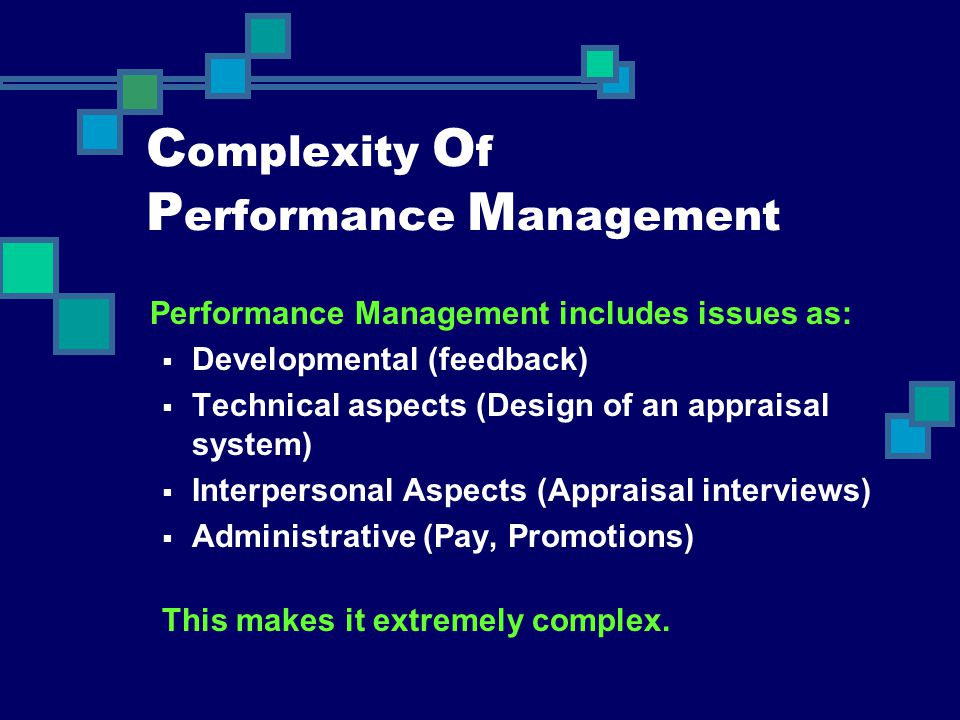 Complexity Of Performance Management