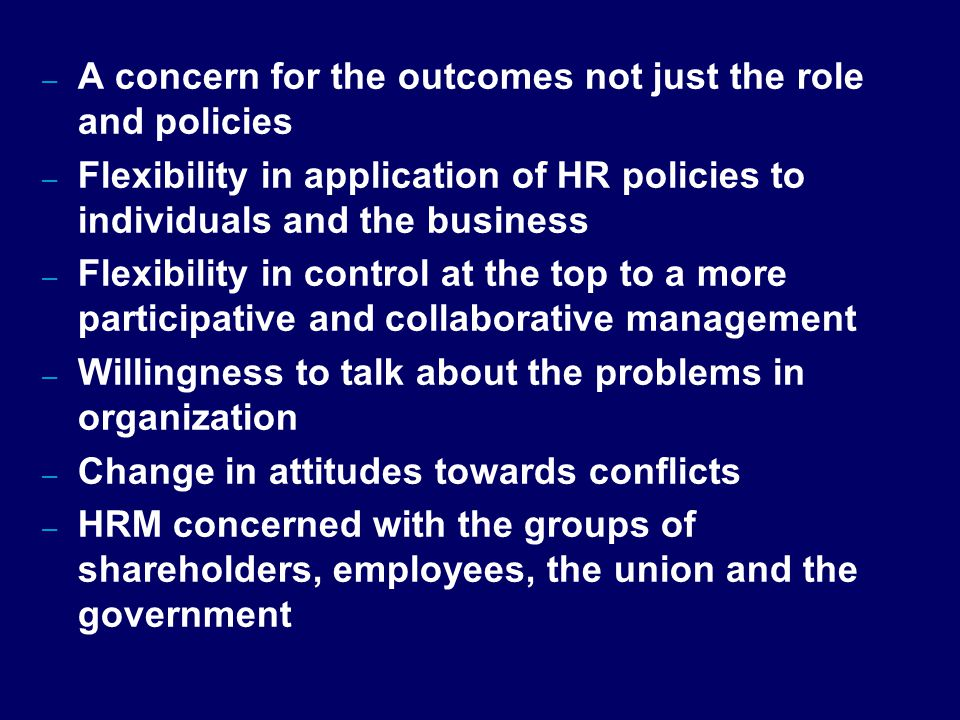 A concern for the outcomes not just the role and policies